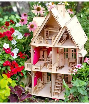 Деревянный конструктор Кукольный домик + 6 комплектов мебели
