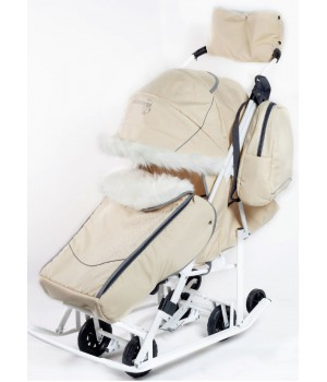 Санки-коляска со стразами Pikate Snowman Снеговик бежевый