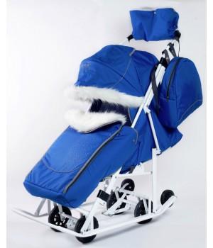 Санки-коляска со стразами Pikate Snowman Снеговик синий