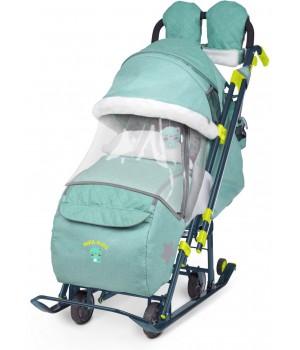 Санки-коляска Nika Ника Детям 7-3 (НД 7-3) в джинсовом стиле (зеленый)