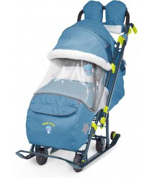 Санки-коляска Nika Ника Детям 7-3 (НД 7-3) в джинсовом стиле (синий)
