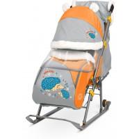 Санки-коляска Nika Ника Детям 6 (НД 6) принт с ежиком (оранжевый/серый)