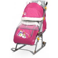 Санки-коляска Nika Ника Детям 6 (НД 6) принт со снеговиками (розовый)