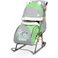 Санки-коляска Nika Ника Детям 6 (НД 6) принт с енотом (зеленый/серый)