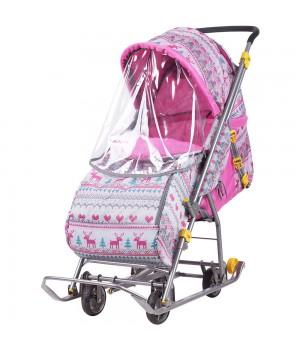 Санки-коляска Ника Умка 3-1 (У 3-1) вязанный розовый