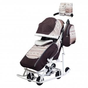 Санки-коляска Pikate Скандинавия коричневый
