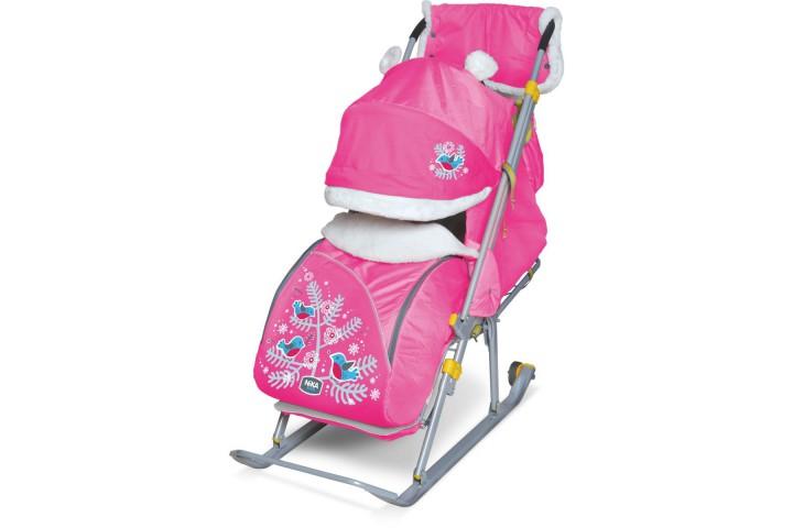 Санки-коляска Nika Ника Детям 6 (НД 6) Снегири розовый
