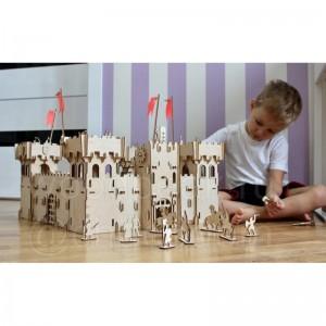 Деревянный конструктор Чудо-крепость в комплекте 36 рыцарей+катапульта