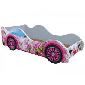 """Детская кровать-машина """"Бабочка в розах"""""""