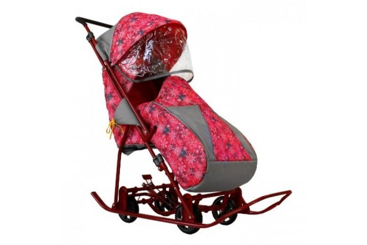 Санки-коляска Galaxy снежинка универсал снежинка розовая