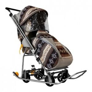 Санки-коляска Galaxy снежинка универсал финлядния коричневая