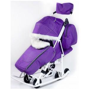 Санки-коляска со стразами Pikate Snowman Снеговик фиолетовый