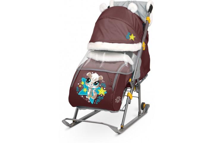 Санки-коляска Nika Ника Детям 6 (НД 6) Белка шоколад