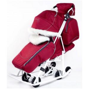 Санки-коляска со стразами Pikate Snowman Снеговик бордовый