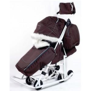 Санки-коляска со стразами Pikate Snowman Снеговик коричневый