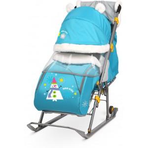 Санки-коляска Nika Ника Детям 6 (НД 6) принт со снеговиком (бирюзовый)