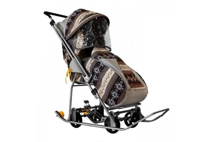 Санки-коляска Galaxy снежинка универсал финлядния серая